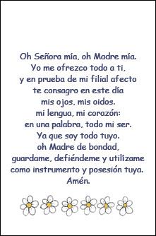 Oración Oh Señora Mía