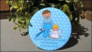 Imanes de bautizo - Niño azul - Nelyamano